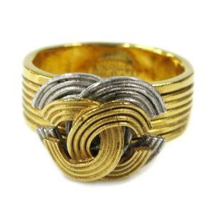 CHANEL CC Logos Charm Ring Gold Size 7 00A France